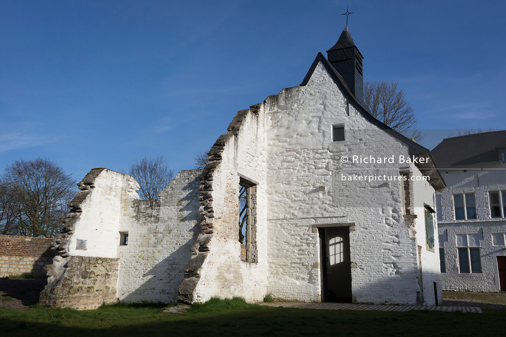 Exterior of the Chapel at the strategically-important Hougoumont Farm during the Battle of Waterloo, on 25th March 2017, at Waterloo, Belgium. The farm became an epicentre of fighting in the Battle as it was one of the first places where British and other allied forces faced Napoleon's Army. 12,000 allied troops defending 14,000 French. The Battle of Waterloo was fought on 18 June 1815. A French army under Napoleon Bonaparte was defeated by two of the armies of the Seventh Coalition: an Anglo-led Allied army under the command of the Duke of Wellington, and a Prussian army under the command of Gebhard Leberecht von Blücher, resulting in 41,000 casualties. The Battle of Waterloo was fought on 18 June 1815. A French army under Napoleon Bonaparte was defeated by two of the armies of the Seventh Coalition: an Anglo-led Allied army under the command of the Duke of Wellington, and a Prussian army under the command of Gebhard Leberecht von Blücher, resulting in 41,000 casualties.