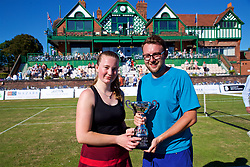 LIVERPOOL, ENGLAND - Sunday, June 24, 2018: Amy Griffiths and Adam Owen, Widnes Tennis Academy with the Chavasse Cup during day four of the Williams BMW Liverpool International Tennis Tournament 2018 at Aigburth Cricket Club. (Pic by Paul Greenwood/Propaganda)