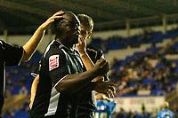 Photo: Daniel Hambury.<br /> Reading v Swansea. Carling Cup.<br /> 23/08/2005.<br /> <br /> Swansea's Adebayo Akinfenwa celebrates his goal.