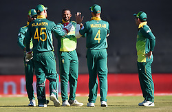 Cape Town-181006-South African celebrates Andile Phehlukwayo's wicket against  Zimbabwean,as he bowled out Elton Chigumbura   in the 3rd ODI match at Boland Park cricket stadium. .Photographer:Phando Jikelo/African News Agency(ANA)
