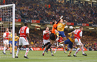 David Seaman punches clear from Michael Svensson. Arsenal v Southampton, FA Cup Final, Millennium Stadium, Cardiff 17/05/2003. Credit: Colorsport / Matthew Impey DIGITAL FILE ONLY
