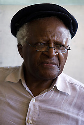 Desmond Tutu, the South African Nobel Peace Prize laureate, stands outside the Children's Memorial in the Yad Vashem Holocaust memorial complex in Jerusalem, Israel on August 25, 2009, at the conclusion of The Elders visit to the facility. The Elders are on their first visit as a group to Israel and the Palestinian Authority area in the West Bank in order to offer their support for those working hard to promote peaceful coexistence, however Israel is not letting them visit the Hamas-controlled Gaza Strip. Photo by Olivier Fitoussi/ABACAPRESS.COM    199634_009 Jerusalem Israël