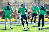 Scott Allan (#23) of Hibernian FC (centre) during the training session for Hibernian FC at the Hibs Training Centre, Ormiston, Scotland on 26 February 2021, ahead of the SPFL Premiership match against Motherwell.
