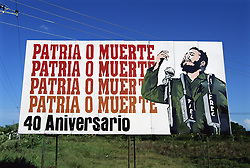 Jan 26, 2006; Havana, Cuba; 'Fatherland or Death.' Fidel Castro on a roadside billboard celebrating the 40th anniversary of the Cuban revolution. Fidel Castro has been the head of government since 1959, first as prime minister and, after the abolition of that office with the adoption of the 1976 Constitution, as President of the Council of State, which also serves as head of state.Cuba was first visited by Europeans when explorer Christopher Columbus made landfall here for the first time on October 28, 1492, at the eastern tip of Cuba. The Bay of Pigs invasion of April 1961 by U.S. backed Cuban expatriates failed because U.S. president John F. Kennedy left the invaders stranded for fear of getting officially involved (Credit Image: © Henk van der Leeden/TCS/ZUMAPRESS.com)