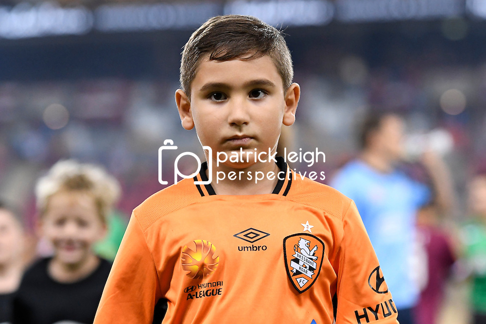 BRISBANE, AUSTRALIA - FEBRUARY 3: A Brisbane Roar fan walks out with the players during the round 18 Hyundai A-League match between the Brisbane Roar and Sydney FC at Suncorp Stadium on February 3, 2017 in Brisbane, Australia. (Photo by Patrick Kearney/Brisbane Roar)