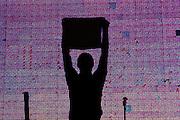 Sao Paulo_SP, Brasil...Show do Jota Quest em comemoracao ao dia do trabalhador na Av. Paulita. Na foto silhueta do Rogerio Flausino...Jota Quest show in Labor Day celebration at Av Paulita. In this photo Rogerio Flausino silhouette...Foto: LEO DRUMOND / NITRO