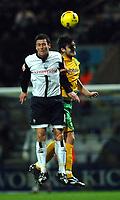 Photo: Paul Greenwood.<br />Preston North End v Norwich City. Coca Cola Championship. 20/02/2007. Norwich's Jason Shackell, right, beats David Nugent in the air