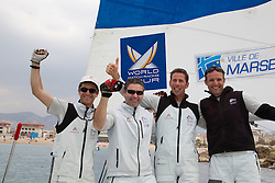 Mathieu Richard (r) french match racing celebrates after winning   at  Match Race France   in  Marseille, France 11 April 2010 Photo: Brendon O'Hagan/Subzero images
