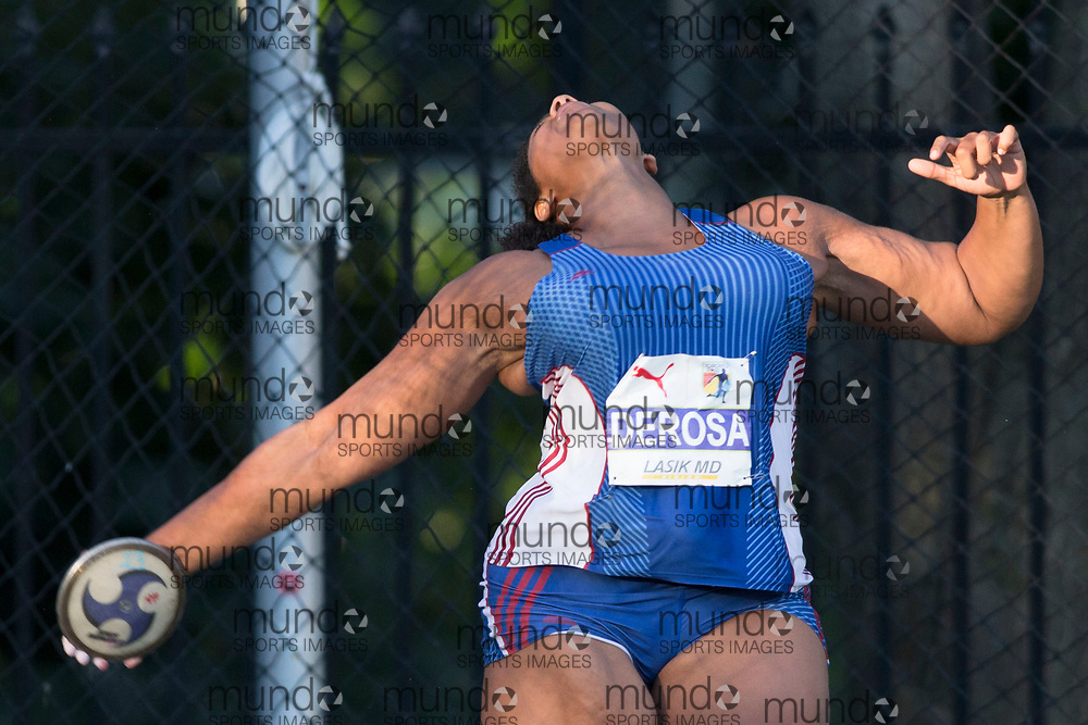 Toronto, ON -- 10 August 2018: Tiara Derosa (Bermuda), discus at the 2018 North America, Central America, and Caribbean Athletics Association (NACAC) Track and Field Championships held at Varsity Stadium, Toronto, Canada. (Photo by Sean Burges / Mundo Sport Images).