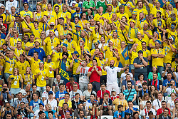 July 7, 2018 - Samara, Russia - 180707 Fans of Sweden during the FIFA World Cup quarter final match between Sweden and England on July 7, 2018 in Samara..Photo: Petter Arvidson / BILDBYRÃ…N / kod PA / 92083 (Credit Image: © Petter Arvidson/Bildbyran via ZUMA Press)