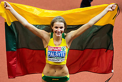Airinė Palšytė of Lithuania  celebrates after winning during the High Jump Women Final on day two of the 2017 European Athletics Indoor Championships at the Kombank Arena on March 4, 2017 in Belgrade, Serbia. Photo by Vid Ponikvar / Sportida