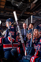 REGINA, SK - MAY 25: John Paddock, head coach of the Regina Pats stands on the bench against the Hamilton Bulldogs at the Brandt Centre on May 25, 2018 in Regina, Canada. (Photo by Marissa Baecker/CHL Images)