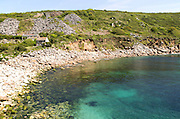 Coastal scenery at Lamorna Cove, Cornwall, England, UK