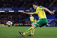 Timm Klose of Norwich City in action. The Emirates FA Cup, 3rd round replay match, Chelsea v Norwich City at Stamford Bridge in London on Wednesday 17th January 2018.<br /> pic by Steffan Bowen, Andrew Orchard sports photography.