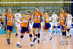Players of ACH Volley Celebrate during volleyball match between ACH Volley (SLO) and Vojvodina NS Seme NOVI SAD (SRB) in 5th Leg of Pool F of 2016 CEV DenizBank Volleyball Champions League, on January 21, 2016 in Arena Tivoli, Ljubljana, Slovenia. Photo by Urban Urbanc / Sportida