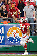 October 14, 2007 - Kansas City, MO..Tight end Tony Gonzalez #88 of the Kansas City Chiefs reacts after scoring a touchdown in the first quarter agianst the Cincinnati Bengals, during a NFL football game at Arrowhead Stadium in Kansas City, Missouri on October 14, 2007...FBN:  The Chiefs defeated the Bengals 27-20.  .Photo by Peter G. Aiken/Cal Sport Media