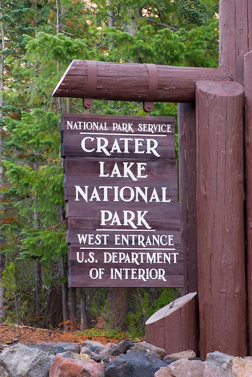 Park entrance sign, Crater Lake National Park, Oregon