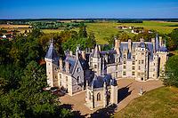France, Cher (18), Berry, le Chateau de Meillant, vue aérienne, route Jacques Coeur // France, Cher (18), Berry, Chateau de Meillant castle, aerial view, the Jacques Coeur road