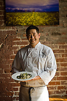 Chef Chris Woo, prepares risotto at Magpie Café at 1409 R Street in Sacramento, Monday  April 9, 2012..Photo Brian Baer