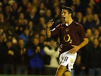 Photo: Chris Ratcliffe.<br />Arsenal v Sparta Prague. UEFA Champions League.<br />02/11/2005.<br />Robin Van Persie celebrates his second and Arsenal's third goal