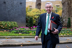 © Licensed to London News Pictures. 10/11/2020. London, UK. Minister for the Cabinet Office Michael Gove on Downing Street before the cabinet meeting. A second national lockdown is now in place to slow the spread of Coronavirus and is expected to last until 2 December 2020. Photo credit: Rob Pinney/LNP