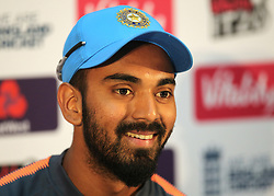 India's Lokesh Rahul speaks during a press conference at The SSE SWALEC, Cardiff.