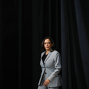 RALEIGH, NC - SEPT 28: United States Senator and Democratic Vice Presidential nominee, prepares to deliver remarks about President Trump's Supreme Court pick to a room full of reporters at Shaw University  Raleigh, NC on September 28, 2020. This is the first time Senator Harris has been able to visit North Carolina since being named the vice presidental nominee. As the 2020 presidential election nears, North Carolina will be a must-have state for either candidate.  (Photo by Logan Cyrus for AFP)