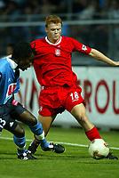 Fotball. Treningskamp 19.07.2002.<br />Le Havre v Liverpool 0-1.<br />John Arne Riise, Liverpool. <br />Pascal Chimbonda, Le Havre.<br />Foto: David Rawcliffe, Digitalsport