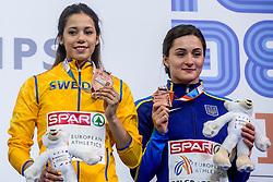 05-03-2017  SRB: European Athletics Championships indoor day 3, Belgrade<br /> Angelica Bengtsson SWE en Maryna Kylypko UKR