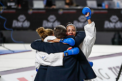 November 10, 2018 - Madrid, Madrid, Spain - Cristina Vizcaino and Cristina Ferrer of Spain celebrates the victory and the bronce medal and the third place of Female Kumite for Team tournament during the Finals of Karate World Championship celebrates in Wizink Center, Madrid, Spain, on November 10th, 2018. (Credit Image: © AFP7 via ZUMA Wire)