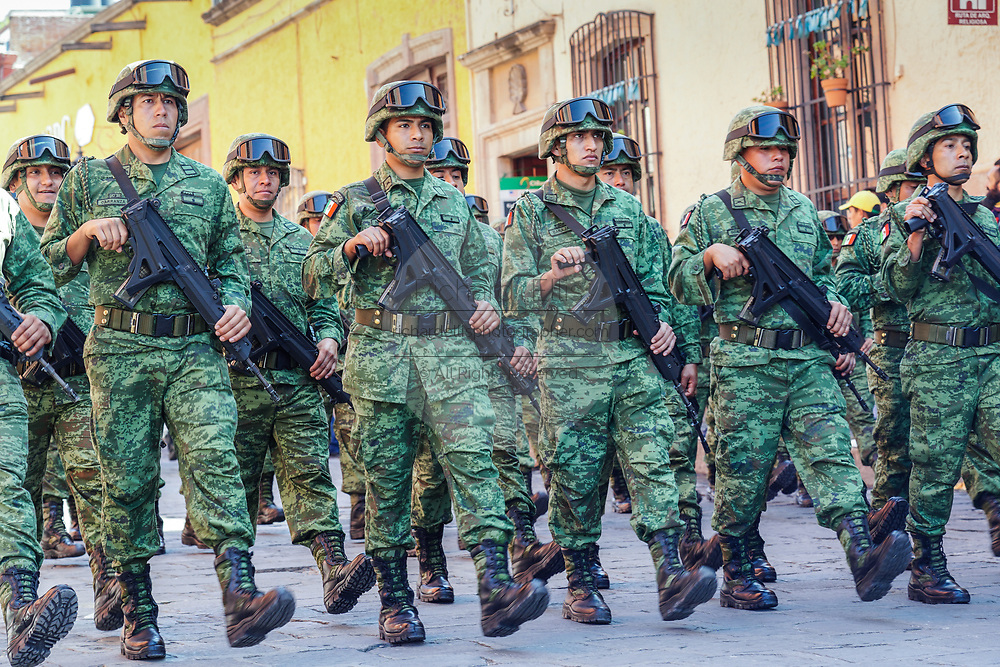 Members of the Mexican Army march in a parade to celebrate the 251st birthday of the Mexican Independence hero Ignacio Allende January 21, 2020 in San Miguel de Allende, Guanajuato, Mexico. Allende, from a wealthy family in San Miguel played a major role in the independency war against Spain in 1810 and later honored by his home city by adding his name.