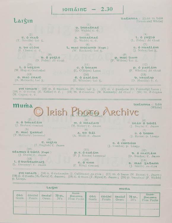 Interprovincial Railway Cup Football Cup Final,  17.03.1963, 03.17.1963, 17th March 1963, referee S O Ceirin , Leinster 1-09, Ulster 2-08, .Interprovincial Railway Cup Hurling Cup Final,  17.03.1963, 03.17.1963, 17th March 1963, referee S O Gliasam, Leinster 5-05, Munster 5-05, Hurling Team Leinster, O Walsh, T Neville, J Walsh, L Foley, S Cleere, W Rackard, J Nolan, D Foley, P Wilson, W Hogan, C O'Brien, F Whelan, O'McGrath, E Wheeler, D Heaslip, Hurling Team Munster, M Cashman, J Brohan, M Maher, J Doyle, T McGarry, A Wall,  J Byrne, T English, J Condon, J Doyle, P J Keane, D Nealon, L Devaney, C Ring, J Smith,.