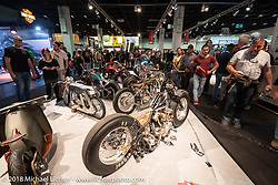 Stéphane Grand's of T4 Motor-Cycles custom 1947 Knuckle in the AMD World Championship of Custom Bike Building in the Intermot Customized hall during the Intermot International Motorcycle Fair. Cologne, Germany. Saturday October 6, 2018. Photography ©2018 Michael Lichter.