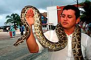 MEXICO, YUCATAN, TOURISM Riviera Maya, Playa del Carmen; snake