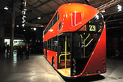 ©London News pictures...11/11/2010. The rear of the new bus. Boris Johnson, London's Mayor, unveils a life size mock up of a new bus for London, today (11/11/10). The mock up gives Londoners the first glimpse of how the bus will look when it is put into service in 2012