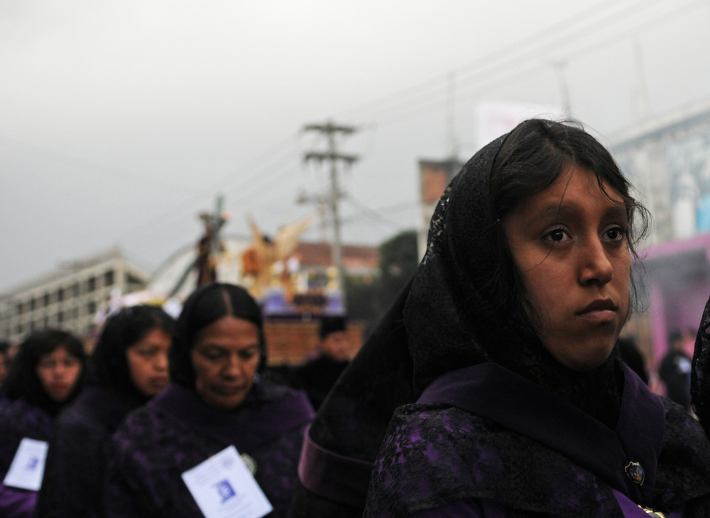 Young and old, men and women took part in the Procession of Jesus of Nazareth in Quetzaltenago Guatemala Sunday afternoon.