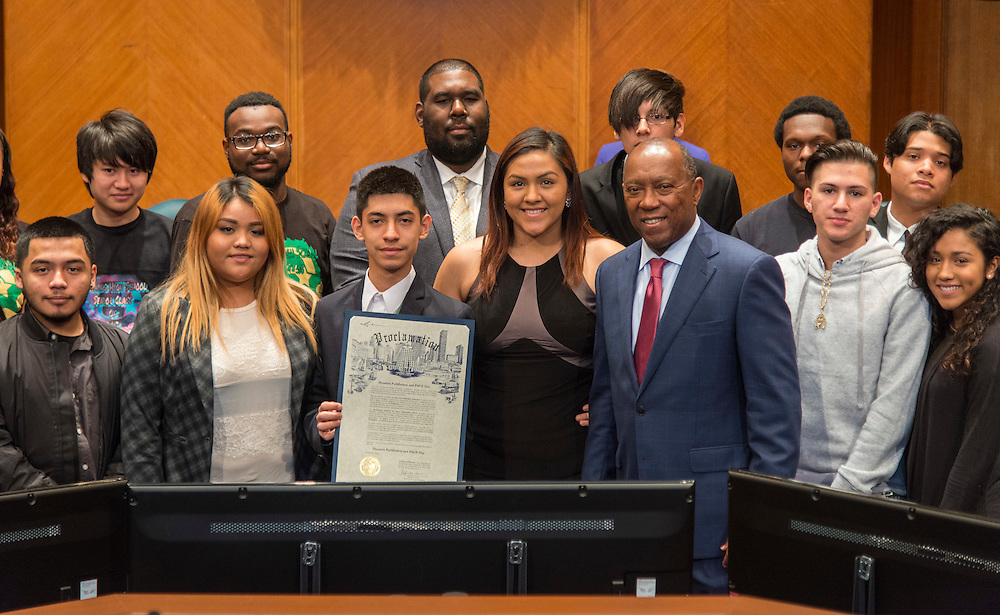 Houston Mayor Sylvester Turner recognizes students from Austin High School for participation in the Pathfinders program and students from Worthing High School for participation in the PACE program during a meeting of the city council, December 6, 2016.