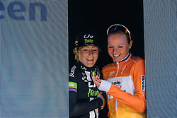 After you... Chantal Blaak and Floortje Mackaij squeeze onto the podium - Ronde van Drenthe 2016, a 138km road race starting and finishing in Hoogeveen, on March 12, 2016 in Drenthe, Netherlands.