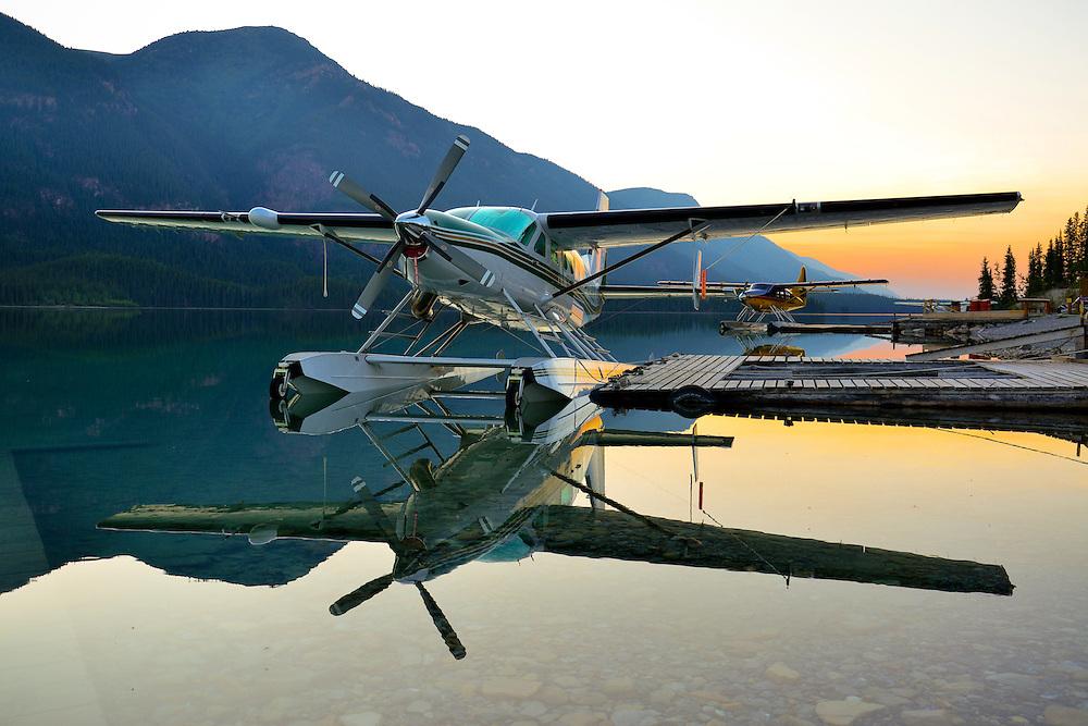 Cessna Grand Caravan N208LB spends the night at Northern Rockies Lodge, Muncho Lake, British Columbia, Canada.