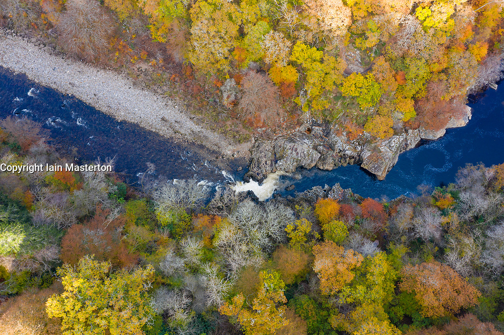 Killiecrankie, Perthshire, Scotland, UK. 28th October 2019. Autumnal colours in trees beside the River Garry seen from a drone at Killiecrankie in Perthshire. Pictured; Famous Soldier's Leap, the spot where a Redcoat soldier leapt 18ft across the raging River Garry, fleeing the Jacobites. Iain Masterton/Alamy Live News. Killiecrankie, Perthshire, Scotland, UK. 28th October 2019. Autumnal colours in trees beside the River Garry seen from a drone at Killiecrankie in Perthshire.