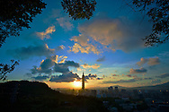 Sunset over Taipei city as seen from Lion Mountain, Taiwan.