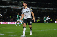 Derby County forward Chris Martin (19) celebrates after scoring during the EFL Sky Bet Championship match between Derby County and Sheffield Wednesday at the Pride Park, Derby, England on 11 December 2019.