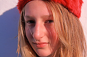 A792YB Young blonde pretty girl wearing soft red hat