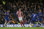 Stoke City's Darren Fletcher (c) tries to find a pass through the Chelsea defenders. <br /> Premier league match, Chelsea v Stoke city at Stamford Bridge in London on Saturday 30th December 2017.<br /> pic by Kieran Clarke, Andrew Orchard sports photography.