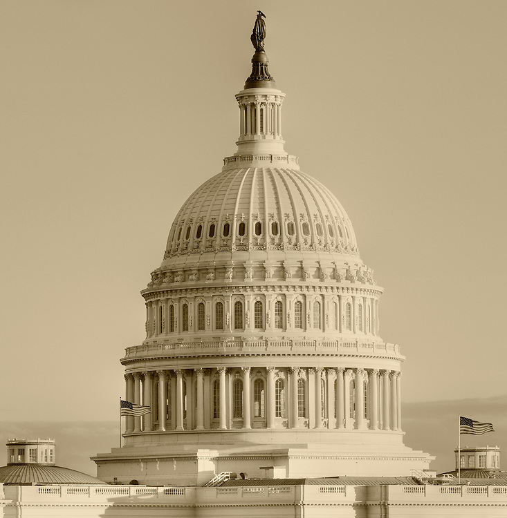 Photograph of the United States Capitol Building dome in Washington, DC. Print Size (in inches): 10x10, 15x15.5; 24x24.5, 36x37, 48x50, 60x62.
