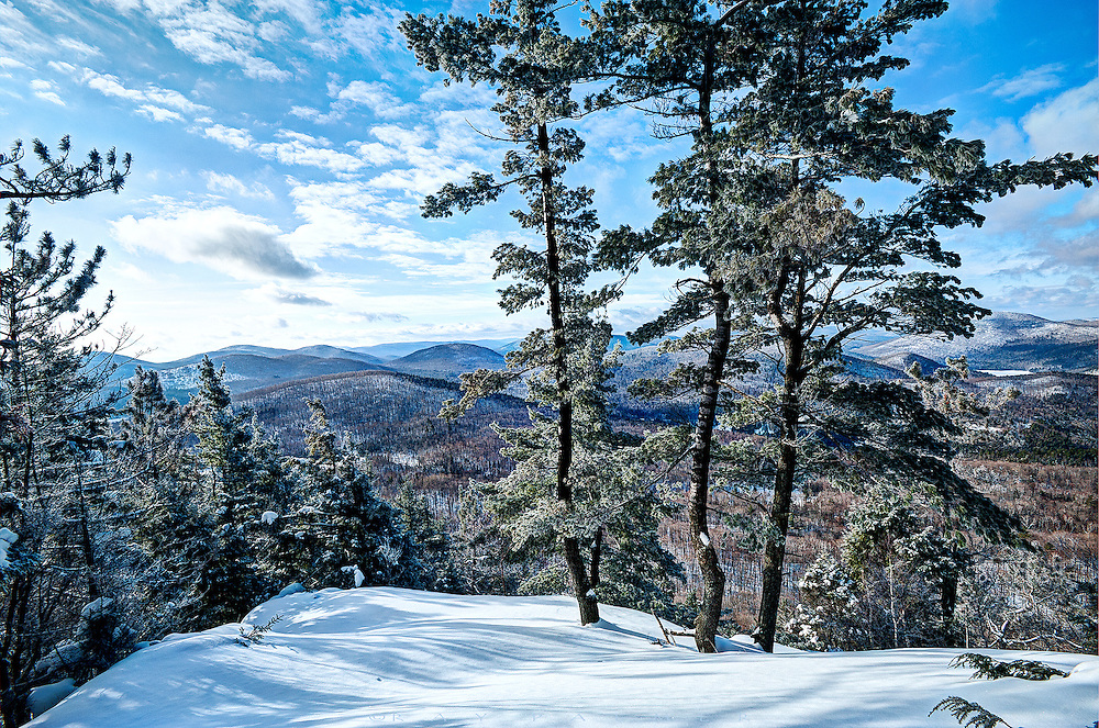 Crane Mountain, Southern Adirondacks, NY. <br /> Looking for a break in a steady climb up Crane Mountain, I had already stripped off my coat, hat and gloves.  There was a view through the trees, but I made my way through deeper snow and young pines to a small open area I could see just a little way off trail.  I shared a view with three trees that commandeered the high ground, coated in hoarfrost the morning sun had not yet melted.