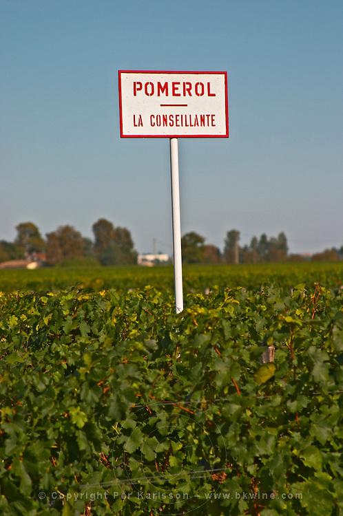 Pomerol - a sign for La Conseillante Chateau and vineyard