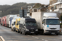© Licensed to London News Pictures. 22/12/2020. Dover, UK. Queues of trucks and vehicles queue the Port of Dover is closed as the French government have prohibited travel due to a new UK outbreak of the Covid-19 disease. Photo credit: London News Pictures