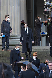 © Licensed to London News Pictures. 13/10/2020. Liverpool, UK. Robert Pattinson takes part in filming for the The Batman at St George's Hall, Liverpool. Photo credit: Kerry Elsworth/LNP
