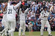 The Warwickshire slips and keeper appeal unsuccessfully for LBW as James Logan of Yorkshire looks to the umpire during the Specsavers County Champ Div 1 match between Yorkshire County Cricket Club and Warwickshire County Cricket Club at York Cricket Club, York, United Kingdom on 18 June 2019.